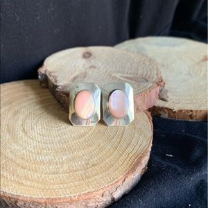 Sterling Silver and Light Pink Stone Earrings